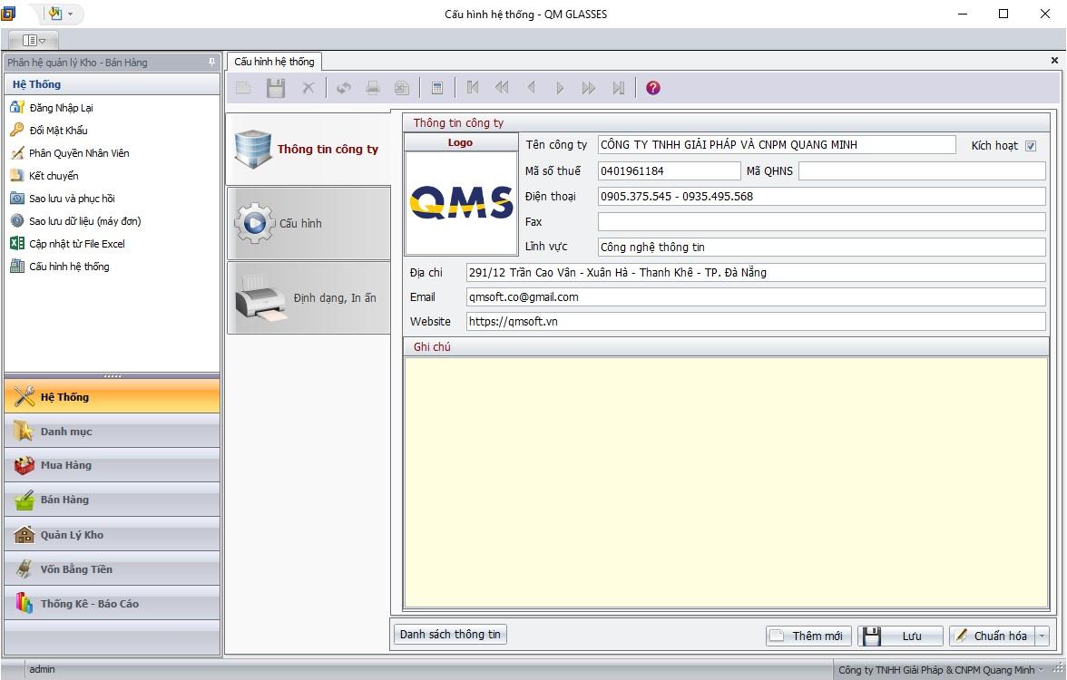 cấu hình hệ thống phần mềm bán hàng nhôm kính